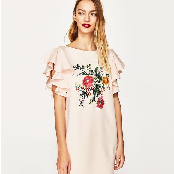 41720026 Zara Dresses | Nwt Dusty Pink Floral Embroidered Mini Dress | Poshmark